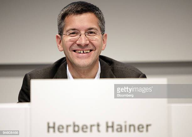 Adidas AG Chief Executive Officer Herbert Hainer speaks to the media at a news conference announcing quarterly financial results in Herzogenaurach...