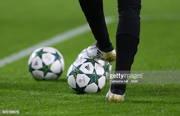 Adidas ball and boots during the UEFA Champions League match between Leicester City FC and Club Brugge KV at The King Power Stadium on November 22...