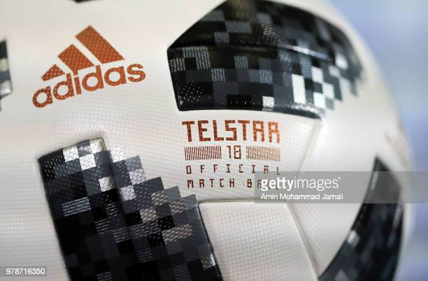 Adidas Ball Official for match 18 during a press Conference before match 18 Between Iran Spain at Kazan Arena on June 19 2018 in Kazan Russia