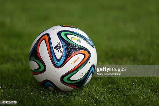 Adidas Brazuca football during an International Friendly between Argentina and Croatia at Boleyn Ground on November 12 2014 in London England