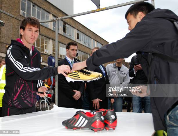 adidas bring footballer Lionel Messi to a market stall in Brick Lane for an unannounced boot amnesty promoting the adidas F50 adizero football boot...