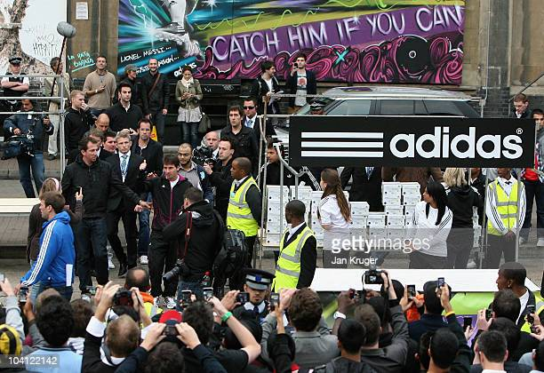 adidas bring footballer Lionel Messi to a market stall in London for an unannounced boot amnesty promoting the adidas F50 adizero football boot on...