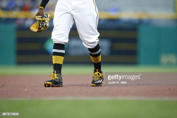 Adidas cleats and Stance socks are seen during the game between the Pittsburgh Pirates and the Atlanta Braves at PNC Park on April 8 2017 in...