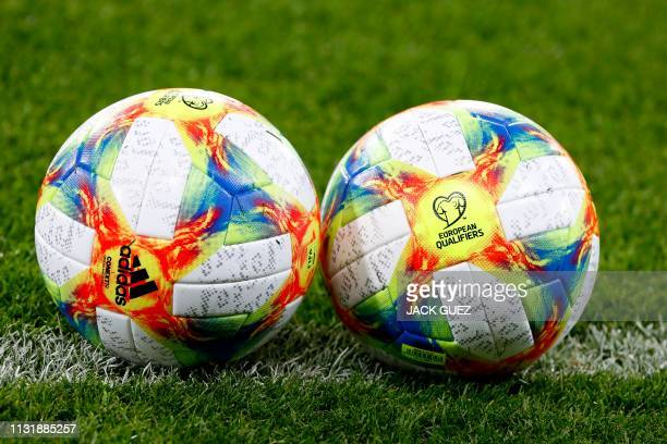 Adidas Conext 19 the official ball for the Euro 2020 Qualifiers are pictured ahead of the Euro 2020 Group G football qualification match between...