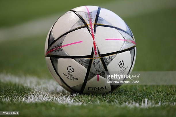 MANCHESTER ENGLAND APRIL 26 Adidas Final Milano 2016 match ball during the UEFA Champions League Semi Final first leg match between Manchester City...