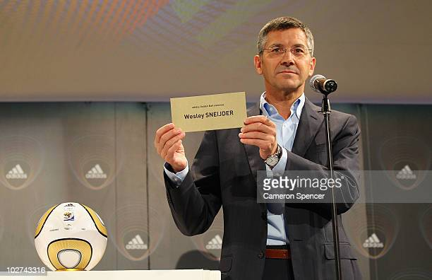 adidas Group CEO Herbert Hainer announces Wesley Sneijder of the Netherlands as one of the 10 nominees for the 2010 FIFA World Cup 'adidas Golden...