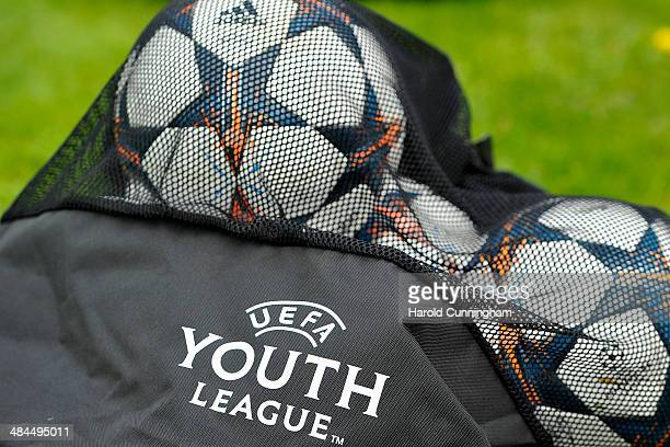 adidas Lisbon OBM ball are used during the FC Barcelona training as part of the UEFA Youth League phase final at Colovray prior to the SL Benfica v...