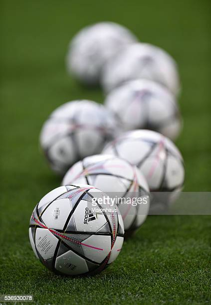Adidas match balls before the UEFA Champions League Final between Real Madrid v Club Atletico de Madrid at Stadio Giuseppe Meazza on May 28 2016 in...