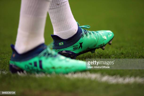 Adidas NSG football boots featuring the National flag of Brazil as worn by Gabriel Jesus of Manchester City during the Premier League match between...