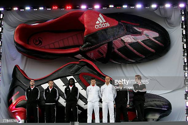 adidas players led by Steven Gerrard pose for pictures during the adidas Predator Launch event at Place Du Trocadero on November 11 2007 in Paris...