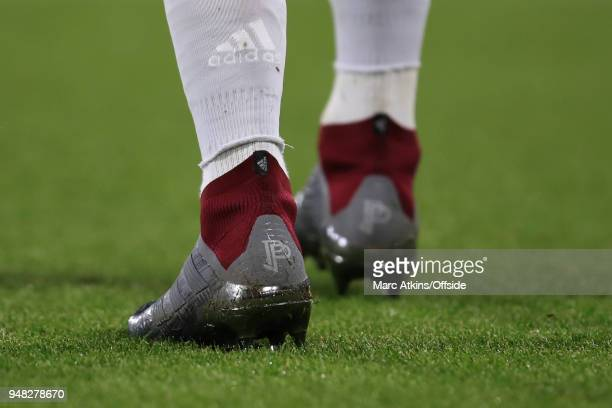 Adidas Predator football boots featuring a logo as worn by Paul Pogba of Manchester United during the Premier League match between AFC Bournemouth...