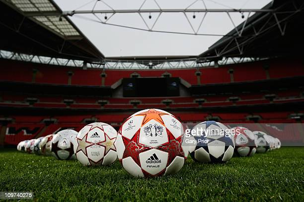 Adidas present the Official Match Ball for the 2011 UEFA Champions League Final at Wembley Stadium on March 3 2011 in London United Kingdom
