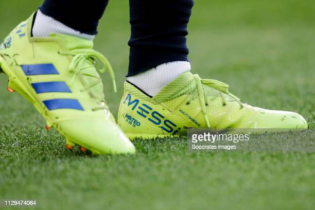 Adidas shoes from Lionel Messi of FC Barcelona during the La Liga Santander match between FC Barcelona v Rayo Vallecano at the Camp Nou on March 9...