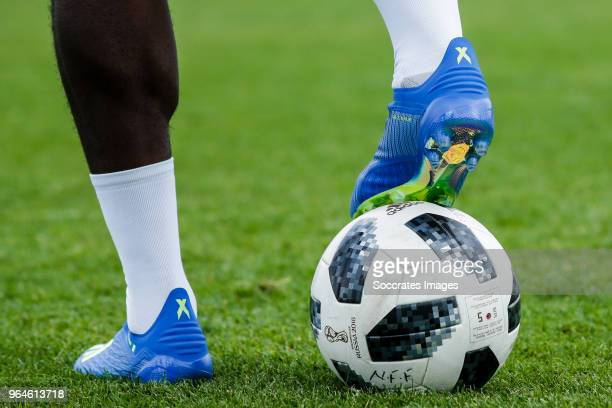Adidas shoes from Ola Aina of Nigeria during the Nigeria Training at the The hive on May 31 2018 in Barnet United Kingdom