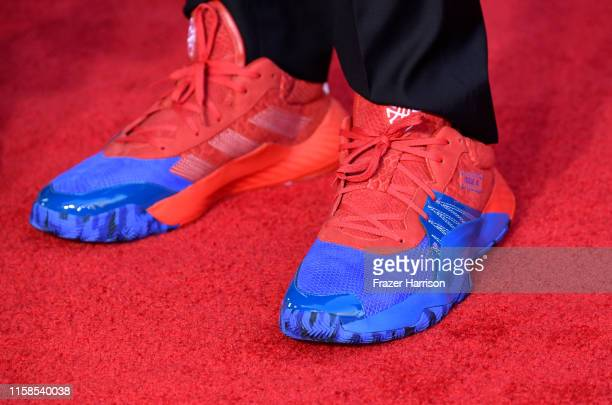 Adidas signature shoes worn by Donovan Mitchell at the Premiere Of Sony Pictures' SpiderMan Far From Home at TCL Chinese Theatre on June 26 2019 in...