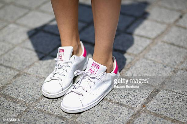Adidas Stan Smith shoes are seen before the Sean Suen show during Paris Fashion Week Menswear Spring/summer 2017 on June 26 2016 in Paris France