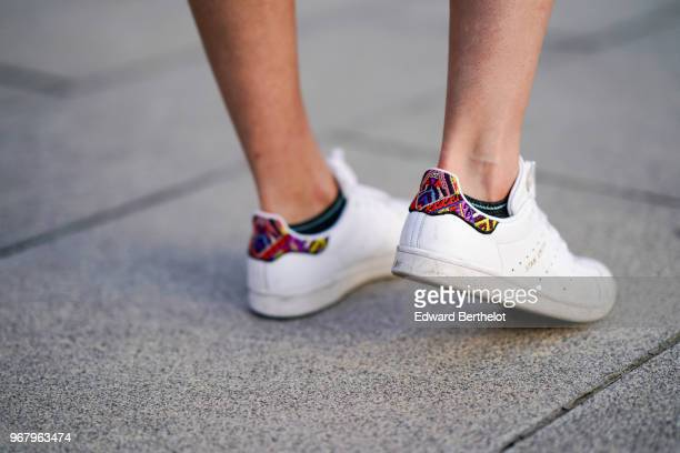 Adidas Stan Smith white sneakers shoes are seen on May 27 2018 in Paris France