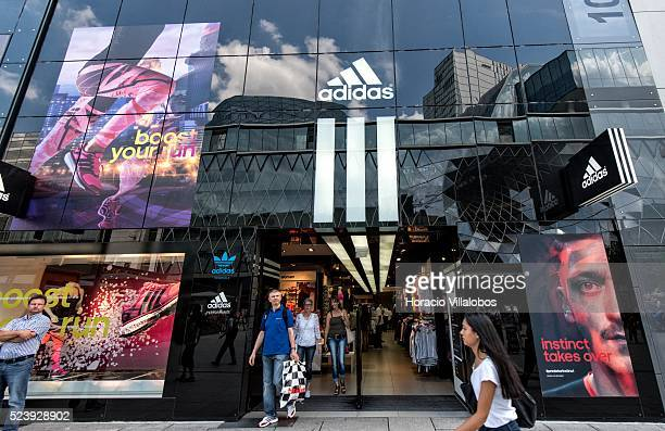 1b838ff625caff Adidas store in Zeil main commercial street in Frankfurt Germany 01 August  2014 Shares in German