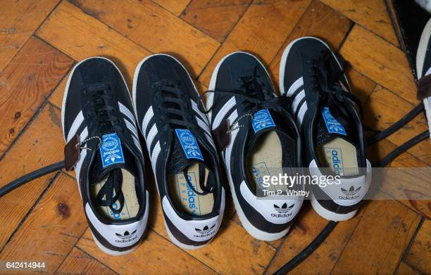 Adidas trainers seen backstage during the PPQ show at London Fashion Week February 2017 collections at Crypt on the Green on February 17 2017 in...