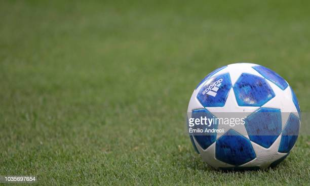 Adidas Uefa Champions League official ball is seen during the Group B match of the UEFA Champions League between FC Internazionale and Tottenham...