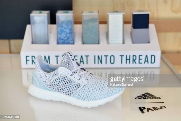 adidas UltraBOOST Parley Limited Edition sneakers at adidas x Parley 'Run For The Oceans' event harnessing the power of sport and continued fight...