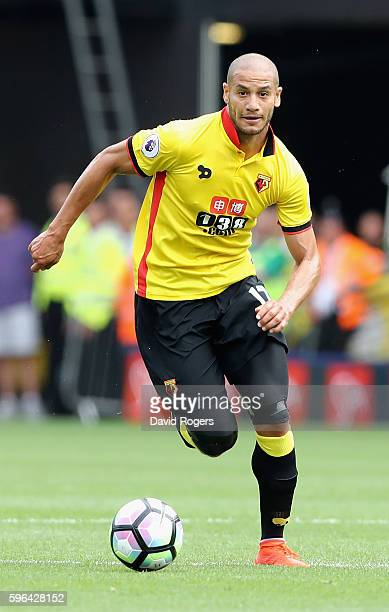 Adiene Guediora of Watford moves away with the ball during the Premier League match between Watford and Arsenal at Vicarage Road on August 27 2016 in...