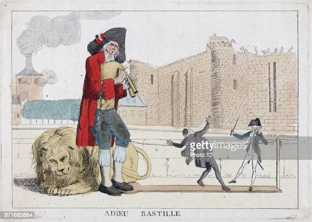 Adieu Bastille Published 1789 etching handcoloured Print shows a man playing a bagpipe behind him lies a lion on a chain which is draped over his...