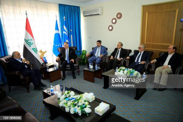 Adil AbdulMahdi who is assigned by Iraq's President Barham Salih to form the new government meets Chairman of the Iraqi Turkmen Front Arshad alSalihi...