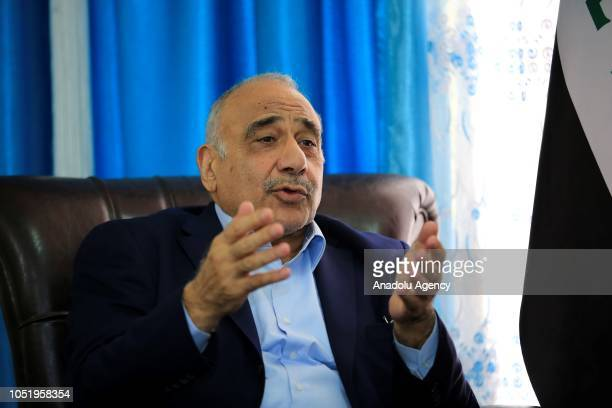 Adil AbdulMahdi who is assigned by Iraq's President Barham Salih to form the new government speaks during his meeting with Chairman of the Iraqi...