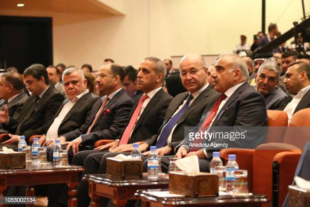Adil AbdulMahdi who is assigned by Iraq's President Barham Salih to form the new government Iraqi Parliament Speaker Salim alJabouri and Leader of...