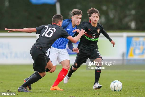 Adil Aouchiche of France and Tiago Ferreira of Portugal during the Mondial Montaigu match between France U16 and Portugal U16 on March 27 2018 in...