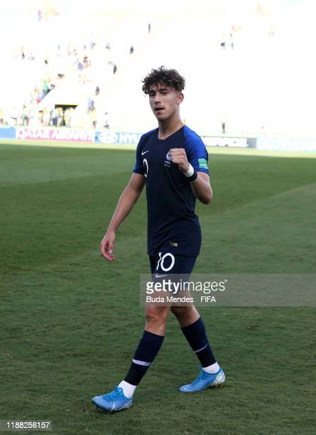 Adil Aouchiche of France celebrates during the 3rd Place Playoff match between the Netherlands and France at the Estadio Bezerrão on November 17 2019...