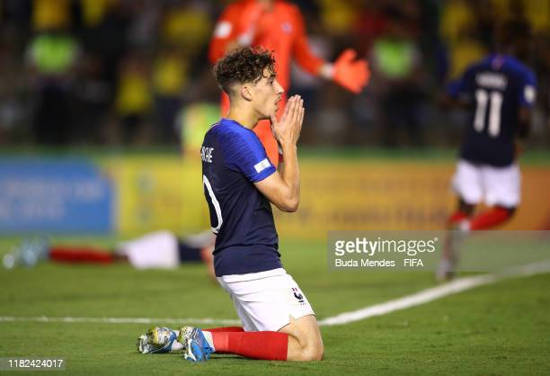 Adil Aouchiche of France reacts during the FIFA U17 World Cup Brazil 2019 semifinal match between France and Brazil at Estadio Bezerrao on November...