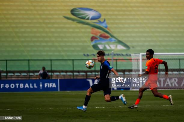 Adil Aouchiche of France struggles for the ball with a Ian Maatsen of Netherlands during the FIFA U17 Men's World Cup Brazil 2019 3rd Place match...