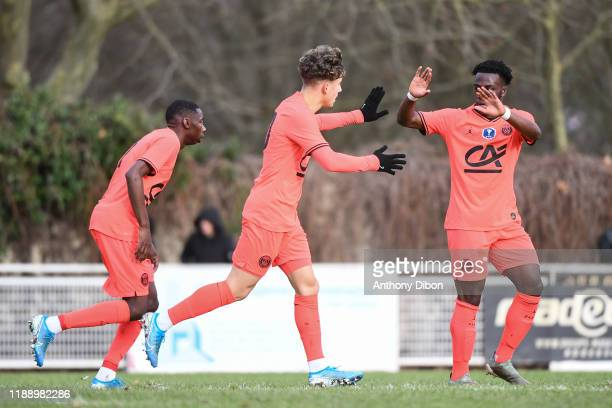 Adil AOUCHICHE of PSG celebrates during the Gambardella Cup match between Evry and Paris Saint Germain on december 15th 2019 in Evry Photo by Anthony...