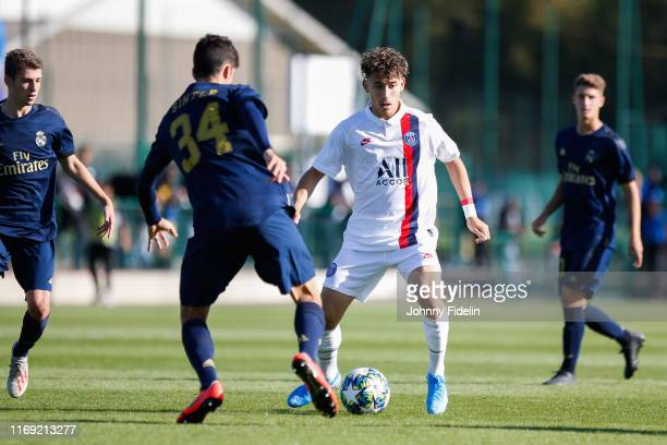 Adil AOUCHICHE of PSG during the Youth League match between Paris Saint Germain and Real Madrid at Camp des Loges on September 18 2019 in Paris France