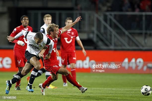 Adil Auassar of RKC Waalwijk and Willem Janssen of FC Twente during the Dutch Eredivisie match between FC Twente and RKC Waalwijk at the Grolsch...