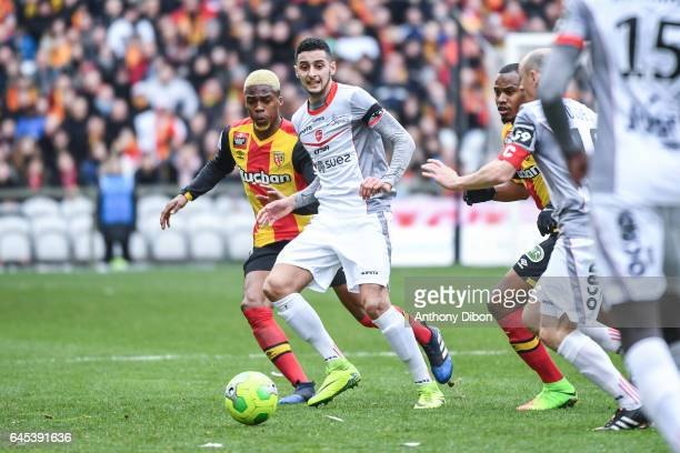 Adil Azbague of Valenciennes during the French Ligue 2 match between Lens and Valenciennes at Stade BollaertDelelis on February 25 2017 in Lens France