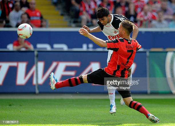 Adil Chihi of Koeln is scoring his teams first goal during the Bundesliga match between Eintracht Frankfurt and 1FC Koeln at Commerzbank Arena on May...
