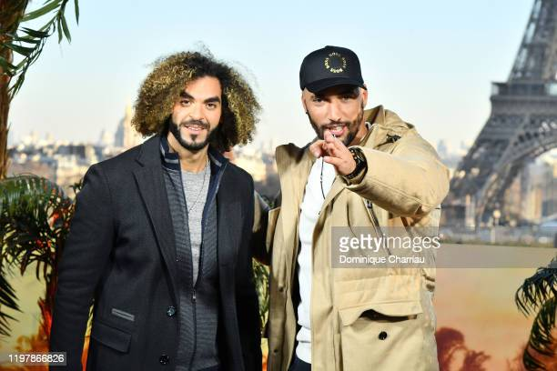 """Adil El Arbi and Bilall Fallah attend the """"Bad Boys For Life"""" photocall at Terrasse Du Cafe de l'Hommeon January 06, 2020 in Paris, France."""