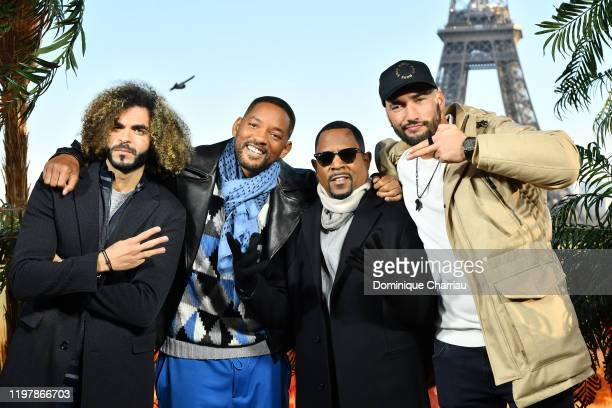 """Adil El Arbi, Will Smith, Martin Lawrence and Bilall Fallah attend the """"Bad Boys For Life"""" photocall at Terrasse Du Cafe de l'Hommeon January 06,..."""