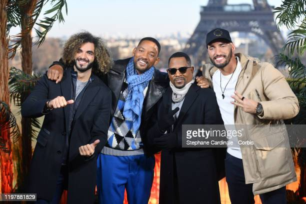 """Adil El Arbi, Will Smith, Martin Lawrence and Bilall Fallah attend the """"Bad Boys For Life"""" photocall at Terrasse Du Cafe de l'Homme on January 06,..."""
