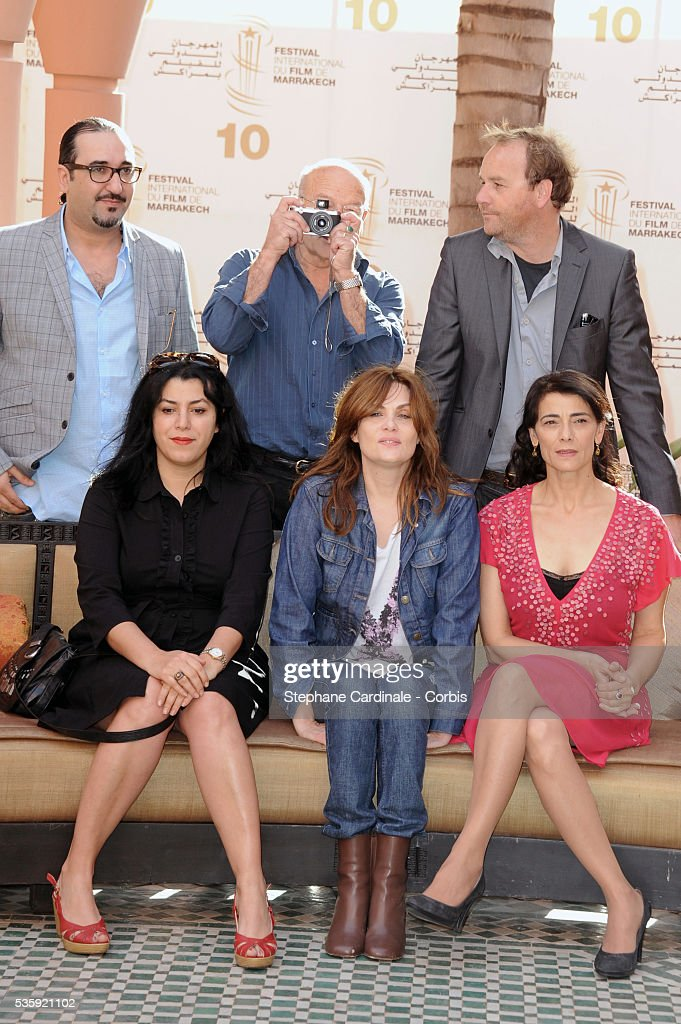 Adil El Fadili, Volker Schlondorff (President), Xavier Beauvois, Marjane Satrapi, Emmanuelle Seigner and Hiam Abbas attend the Photocall of the Short Film Jury, during the10th Marrakech Film Festival, in Marrakech.