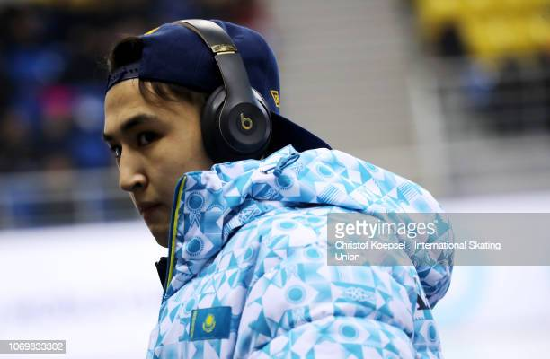 Adil Galiakhmetov of Kazakhstan is seen during the ISU Short Track World Cup Day 1 at Halyk Arena on December 8 2018 in Almaty Kazakhstan Photo by...