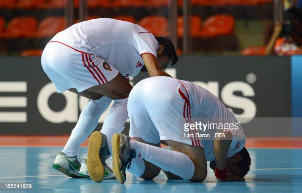 Adil Habil of Morocco celebrates scoring his teams third goal during the FIFA Futsal World Cup Group B match between Panama and Morocco at Indoor...