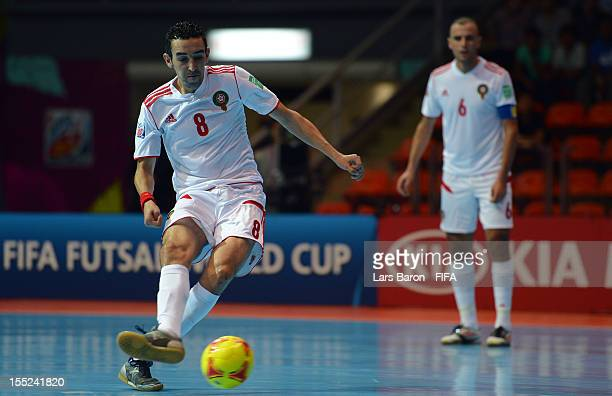 Adil Habil of Morocco scores his teams third goal during the FIFA Futsal World Cup Group B match between Panama and Morocco at Indoor Stadium Huamark...