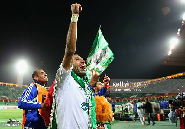 Adil Karrouchy of Raja Casablanca celebrates their 21 win during the FIFA Club World Cup Quarter Final match between Raja Casablanca and CF Monterrey...