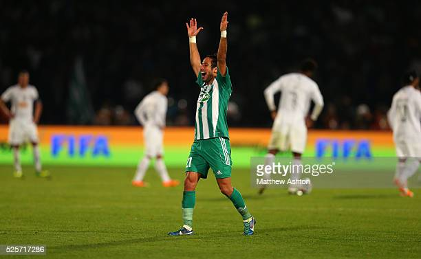 Adil Karrouchy of Raja Casablanca celebrates victory on the final whistle