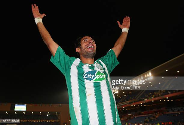 Adil Karrouchy of Raja Casablanca celebrates winning 31 during the FIFA Club World Cup Semi Final match between Raja Casablanca and Atletico Mineiro...