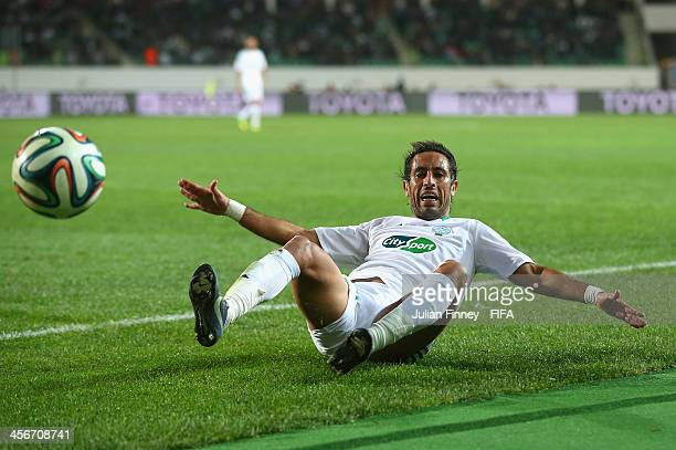 Adil Karrouchy of Raja Casablanca falls to the ground whilst in action during the FIFA Club World Cup Quarter Final match between Raja Casablanca and...